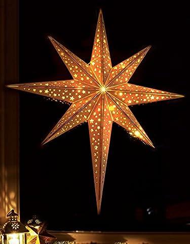 LED Stern aus Holz mit 10 LEDs beleuchtet / kabellos / mit Fernbedienung / Ø 52 cm / Holzstern /