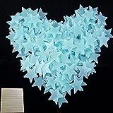 100 Leuchtsterne Wandtattoo Stück Kinder Schlafzimmer Fluoreszierende Leuchten in Den Dunklen Sternen Wand Aufkleber mit Doppelseitigen Klebepunkte (100, Blau)