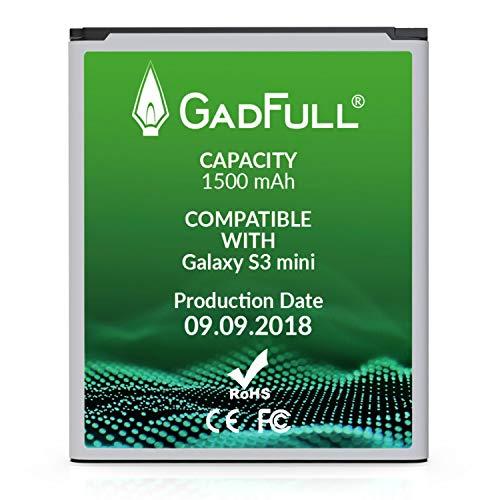 GadFull Batteria compatibile con Samsung Galaxy S3 mini | 2018 Data di produzione |Corrisponde al EB-F1M7FLU originale|Compatibile con Ace 2 i8160 |Galaxy S3 Mini i8190 |Galaxy S Duos S7562