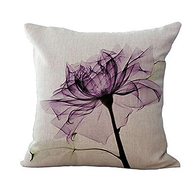 Bluelans® Linen Blend Sofa Modern Flower Cushion Cover Square Pillow Case 18x18inch