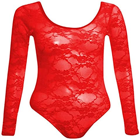 New Womens Plus Size Long Sleeve Scoop Neck Floral Lace Bodysuits Tops ( Red , UK 22 / EU 50 )