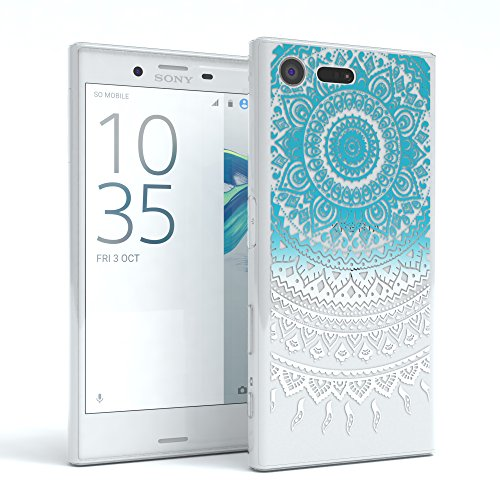 """Sony Xperia X Compact Hülle - EAZY CASE Slimcover """"Clear"""" Handyhülle - Schutzhülle als Smartphone Case in Transparent Henna Blau / Weiß"""