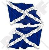 SCHOTTLAND Schottisch Wehende Flagge Großbritannien UK Andreaskreuz, Saltire 75mm Auto & Motorrad Aufkleber, x2 Vinyl Stickers (Links - Rechts)