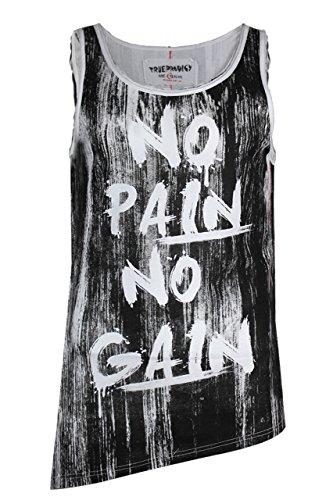trueprodigy casuale uomo canotta maglietta motivo stampa, abbigliamento urban moda girocollo (senza manica & slim fit classic), tank top moda vestiti colore: nero 1072159-2999 Black