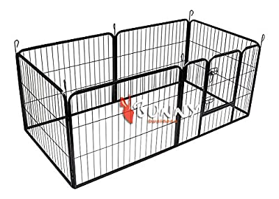 Bunny Business Heavy Duty Puppy Play Pen/ Rabbit Enclosure, 6-PANEL, Gunmetal Grey