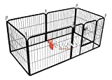 BUNNY BUSINESS Heavy Duty 6 Panel Puppy Play Pen/ Rabbit Enclosure, Small, Gunmetal
