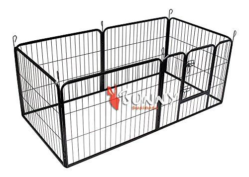 BUNNY BUSINESS Enclos haute résistance pour lapin/chiot 6 panneaux Gris acier