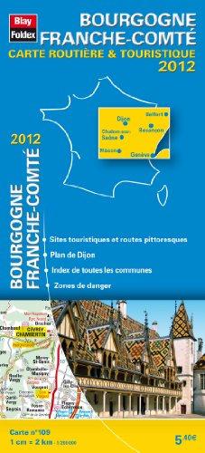 Bourgogne - Franche-Comté, Carte Régionale Routière Touristique N°109. Plan du centre-ville Dijon - Echelle : 1/200 000, avec index - Edition 2012