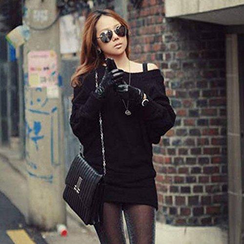 Robe Moulante Sans Bretelles Manche Longue Mini Robe pour Femme Noir