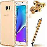 Für Samsung Galaxy S7 Edge Case Cover, Vandot 3 in1 Set 0.7mm Soft Transparent Silikon TPU Rückseite Hülle Cover + Bling Diamant Bumper Rahmen Frame + Ultra Thin Dünn Strass Luxus Case Schutzhülle Premium Glitzer Matt Tasche Protection Kristall Case Glitter Protective Skin Back Shinning Cover Schale Ultraleicht Tasche Light Etui handytasche - Clear Klar Gold + Koala Tier Anti Staubschtz + Touch Pen