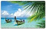 Wallario Stilvolles Frühstücksbrettchen/Schneidebrett aus Glas, Sonnenboot in der Karibik, Größe 14 x 23 cm, aus Sicherheitsglas
