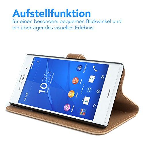 Sony Xperia Z3 Hülle - EAZY CASE Premium Flip Case Handyhülle - Schutzhülle aus Leder in Braun Hellbraun (Book)