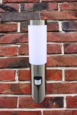 Infrarot Edelstahl Wand-Außenleuchte Wandfackel mit Bewegungsmelder IP44 Außenlampe Bewegungssensor IR Hoflampe Gartenlampe Gartenleuchte 1003WUpir