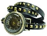 Wickel-Armbanduhr echt Leder schwarz mit Nieten Prezztime 60-13