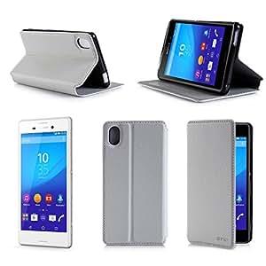 Etui luxe Sony Xperia M4 Aqua blanc Slim Cuir Style avec stand - Housse coque de protection Sony M4 Aqua 4G/LTE (nouveau smartphone 2015) blanche Dual Sim - Prix découverte accessoires pochette cover XEPTIO : Exceptional case !