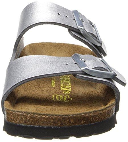 Birkenstock Arizona 252743, Unisex - Erwachsene Clogs & Pantoletten aus Birko-Flor Silber