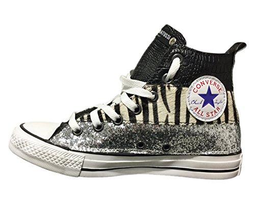Converse All Star con applicazione di tessuto glitter argento, cavallino ed  effetto coccodrillo nero Argento ...