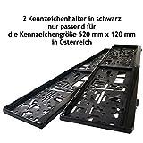 2 Kennzeichenhalter | Kennzeichenrahmen in schwarz passend nur für die Kennzeichengröße 520 mm x 120 mm in Österreich