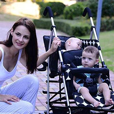 Cochecito DZWSD Carrito gemelar Diseño Plegable de Viaje, Paraguas Doble con arnés de 5 Puntos, portavasos, toldo para bebé, niños pequeños (Negro)