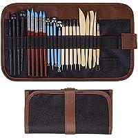 24pcs Material Tools para Cerámica de Arcilla, Polymer Clay Tools con incluye Herramientas Punteadoras, Herramientas de Cerámica de Madera, Puntas de Pluma de Goma, Stylus Ball, kit de plástico,etc