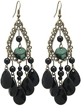2LIVEfor Schwarze Ohrringe lang hängend schwarz Ohrringe Barock Bohemian in Tropfenform Vintage Ohrhänger Tropfen...
