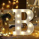 ODJOY-FAN 26 Englisch Brief Licht LED Letter Light Alphabet LED Beleuchtung Licht Oben Weiß Kunststoff Briefe Stehen Hängend A-M Wohnaccessoires Lichter Zubehör (B,1 PC)