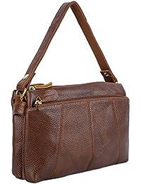 YALUXE Women's Soft Cowhide Leather Triple Zipper Mini Purse Small Crossbody Shoulder Bag