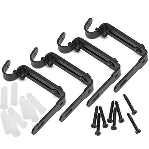 graybunny verstellbar Gardinenstange Klammern, Set 2, Premium Stahl Cafe Rod Halterung für Wände, Gardinenstange Halterung, 4er-Set
