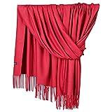 NPRADLA 2018 Kaschmirschal Damen Herren Elegante Akne Einfarbig Pashmina Schurwolle Unisex(One Size,Rot-2)