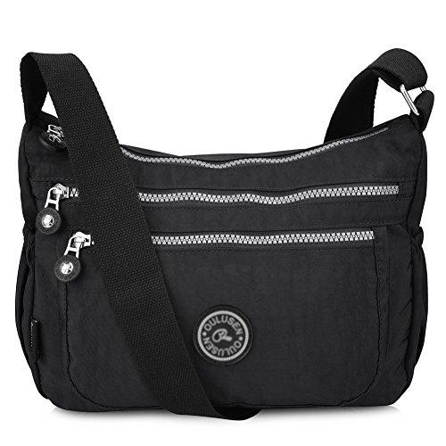 Vbiger Casual Umhängetasche Schultertasche Leichte Schultertasche für Damen Kinder Unisex mit kleine Sacke (Schwarz-neu+)