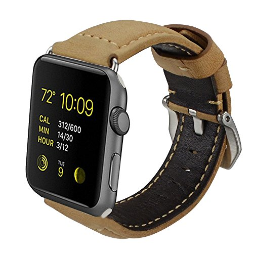 Armband für Apple Watch, Leder Armband Vintage Uhrenarmband für Apple Watch Sport/Edition Series 1 Series 2 Series 3 und Apple Watch Nike+ (38mm, Braun Uhrenband/ Schwarze Schließe)