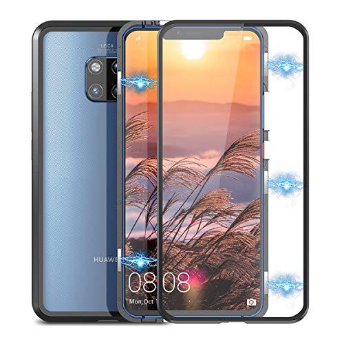 Winhoo Kompatibel mit Huawei Mate 20 Pro Hülle Glas mit Magnetisch Panzerglas Bildschirmschutz Durchsichtig Handyhülle 360 Grad Full Body Transparent Hard Case Anti-Kratzer Schutzhülle - Schwarz