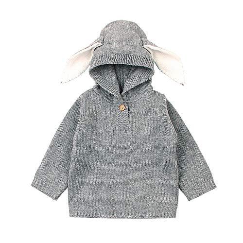 (Zarupeng Neugeborenes Baby Kapuze Strickwaren Karikatur Kaninchen Ohr Gestrickte Kapuzenoberteile Pullover Strickjacke Outfits)