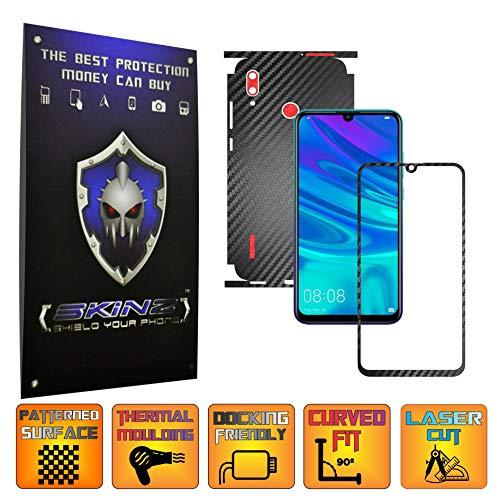 X-Skinz, Full Body Two Tone Schwarz/Rot Carbon Skin Schutzfolie für Huawei P Smart 2019 - Displayrahmen + Rückseite Case Cover Hülle Sticker, Vinyl Wrap Aufkleber Panzerfolie - Dark Vinyl-akzenten