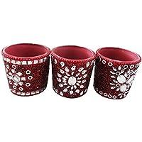 candela artigianale set materiale lac decorativo in rilievo di vetro tè rosso decorazioni sobrie casa articolo da regalo Diwali set di 3 pezzi