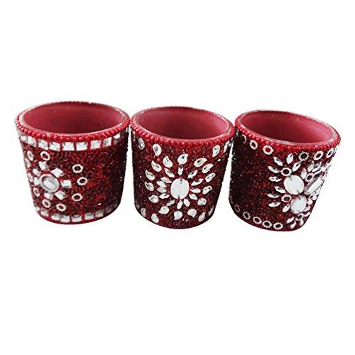 vela artesanal aplique el material de vidrio moldeado decorativo lac té rojo decoración del hogar luz artículo de regalo Día de la Independencia conjunto de 3 piezas