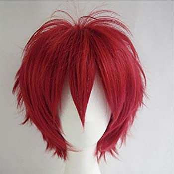 Cosplay Wigs Short Anime Costume Party Full Wigs Dark Red Fashion Straight Synthetic Hair For Women Men 1