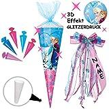 Unbekannt mit _ 3-D Effekt - Glitzer ! _ Set _ Schultüte + 5 kleine Zuckertüten -  Disney die Eiskönigin - Frozen  - 85 cm - eckig - incl. individueller _ großer SCHL..