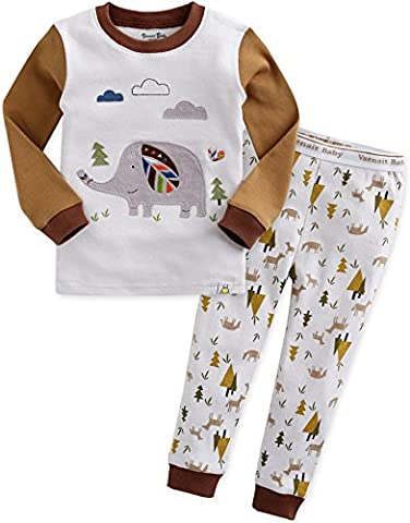 Vaenait Baby Kinder Jungen Nachtwaesche Schlafanzug-Top Bottom 2 Stueck Set India Coco XL