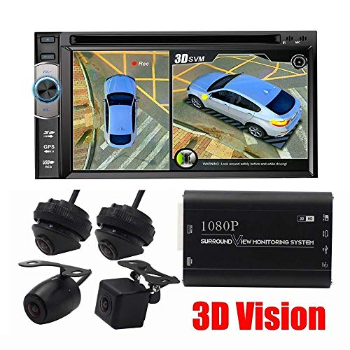 Vision-systeme Tv (LWTOP 1080P HD 3D Panoramic Camera 360 Grad Seamless Surround View Digital Video Recorder Parking System, Auto Reverse Camera All Round Night Vision)