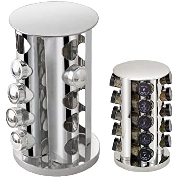 Outdoortips Rotating Stainless Steel Spice Rack with 20 Jars Spice Holders Glass Stand