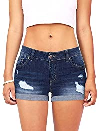 MCYs Frauen Low Waisted Washed Ripped Loch Short Mini Jeans Denim Hosen  Shorts Baggy Denim Kurz 1a48646388