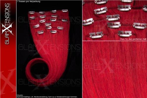 Echthaar Clip In Extensions Set 100% indisches Remy Echthaar 7 teilig / 7 Tressen hochwertige Haarverlängerung 55cm Clip-In Hair Extension Farbe # rot red