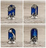 Presepe Miniatura Originale da Collezione Placcato Argento - Set 4 Natività: Angeli, Stella Cometa, Palma, Immagine - Decorazione Natalizia