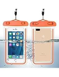 Guzack Funda Impermeable, Universal Bolsa Funda Movil Agua IPX8 para Deportes Acuaticos para Iphone 6/6S/7/6 Plus/7 Plus, Samsung S6/Edge/S5/S4 hasta 6 pulgadas. (Naranja, 2 Pack)