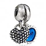 hoobeads 1 Paire Coeur émail Mother and Son 925 en argent sterling Charms rouge