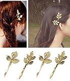 Qtmy 4pezzi di metallo piuma foglie forcina mollette per capelli, accessori per capelli