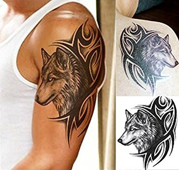 nst Entfernbare Tattoo Aufkleber Wolf LHX-36 Sticker Tattoo Temporary Tattoo - FashionLife ()