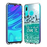 FAWUMAN Clear Phone Case for Huawei Honor 10 Lite Shockproof Hard Plastic Back + TPU Soft Bumper Protective, Cover with Kawaii Cartoon Card Phone Case (Live it)