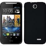 PhoneNatic Case kompatibel mit HTC Desire 310 - Hülle schwarz gummiert Hard-case + 2 Schutzfolien